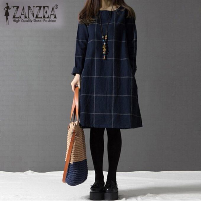 ZANZEA Fashion Autumn Winter Dress Plus Size Women O Neck Long Sleeve Plaid  Dresses Female Casual 53064cef1