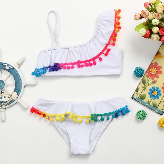 dfb309206 Fashion Quanxinhshang Infant Kid Girls Tassel Solid Swimwear Swimsuit Bikini  Set Outfits