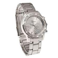 313d2133f Geneva Bling Crystal Women Girl Unisex Stainless Steel Quartz Wrist Watch -Silver