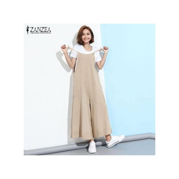 d65bbd0cc04 ZANZEA Fashion Women Casual Loose Jumpsuits Wide Leg Rompers Playsuits  Overalls(Khaki)