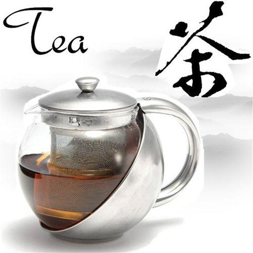 Stainless Steel Glass Teapot + Tea Leaf Herbal Infuser Strainer Filter 900ml
