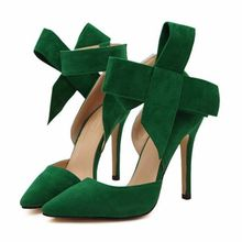 34019e6f24183 Fashion Sexy Butterfly Knot Removable Slim Pointed Toe High Heel Stilettos  Pumps Women-EU