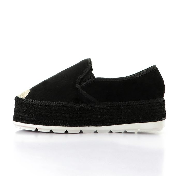 sports shoes 4b961 f9fd3 Straw Sole Velvet Platform Shoes - Black