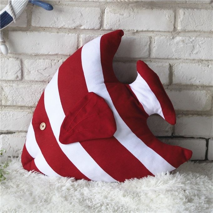 Fish Shape Cushion Bed Backrest Support Throw Pillow with Pillow Insert,  Size: 48 x 45cm(Red) –  مصر