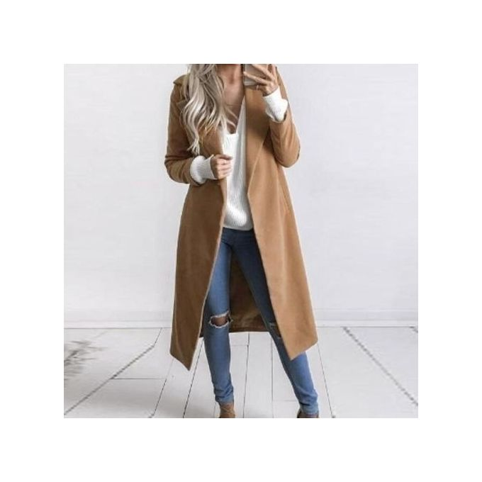Women Woolen Coat Autumn Winter Fashion Long Jacket Lapel Long Sleeve  Pockets Solid Casual Outwear Female 72a6343ce