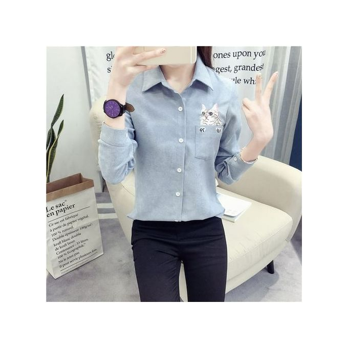 4c7356a83 ... TB Autumn Winter Women Turn-down Collar Long Sleeved Cute Cat  Embroidery Shirt Blue ...