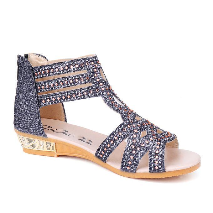 Diamante Heel Sandals Wedge Flat Low Shoes Women's w8n0PkXO