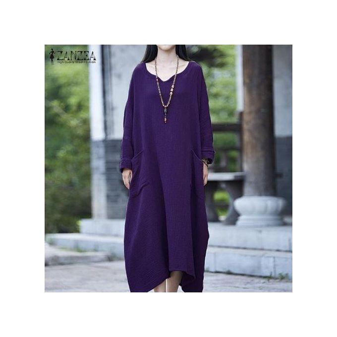 d472d0f4bd20 ZANZEA Womens Batwing Long Sleeve Loose Baggy Plus Long Maxi Dress Robe  Purple