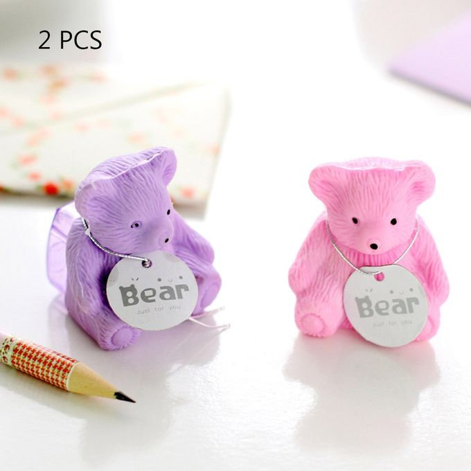 2 PCS Creative Stationery Cartoon Bear Rubber Pencil Eraser+Pencil Sharpener Creative Stationery Student School Office Supplies, Random Color Delivery –  مصر