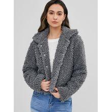60d842bb1a ZAFUL Fluffy Faux Fur Short Winter Teddy Coat CAMEL BROWN DARK GRAY TAN