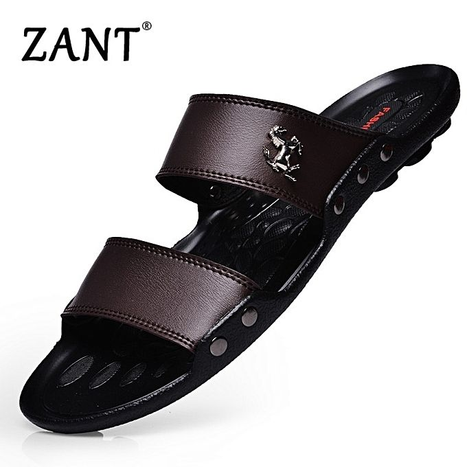186ae1fb7 Luxury Brand Men's Flip Flops Fashion Slippers Summer Beach Sandals Shoes  For Men Flip-flops Brown