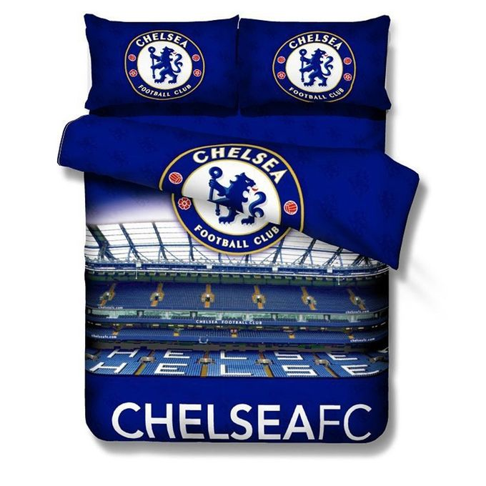 Soccer Clubs Print Cotton Bed Sets Bed Sheet Duvet Cover Pillowcase 3pcs Bedding Suit Style:Chelsea Dimensions:Sheet 150*205 –  مصر