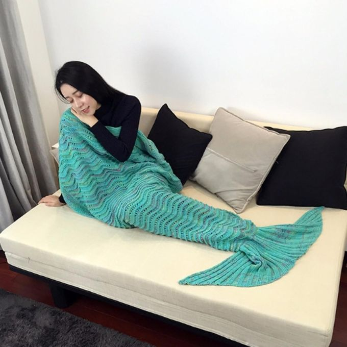 Super Soft Hand Crocheted Mermaid Tail Blanket Knitting Adult Sofa Sleeping Bag –  مصر