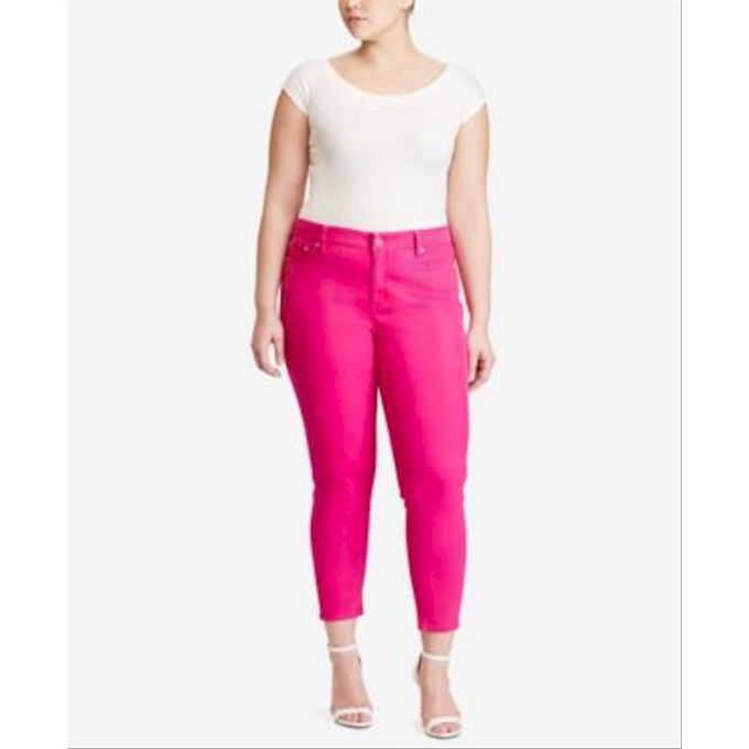 Skinny Ankle Jeans in Bold Pink Wash
