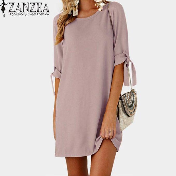 65e4e7c80a29 ZANZEA Chiffon Vintage Mini Vestido Foldable Long Sleeve Lace-Up O Neck  Straight Simple Kaftan