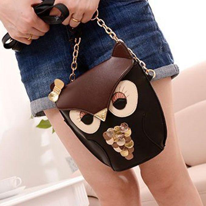 ... Women Lady Splicing Color Cross Body Bag Owl Pattern Holder Cover Bag Hand Bag ...