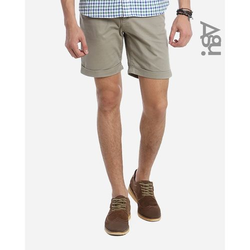 Cotton Gabardine Shorts - Beige