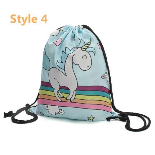 2fcaa53e1e392 Universal Women Girls Unicorn Backpack 3D Printing Travel Softback Drawstring  School Bag