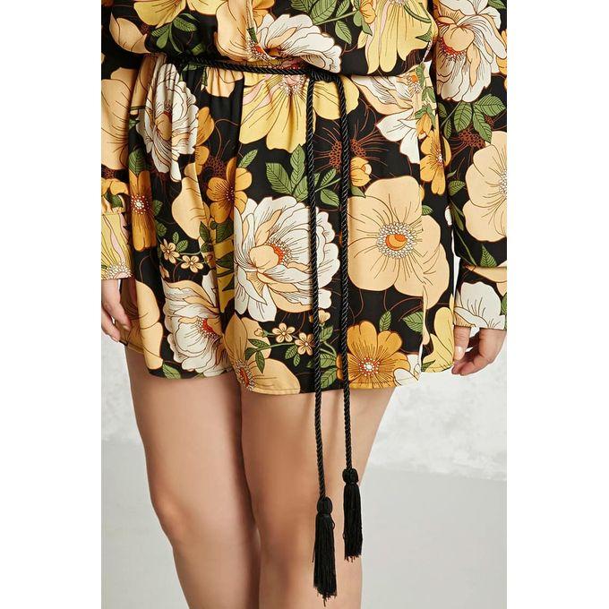 Plus Size Floral Keyhole Romper