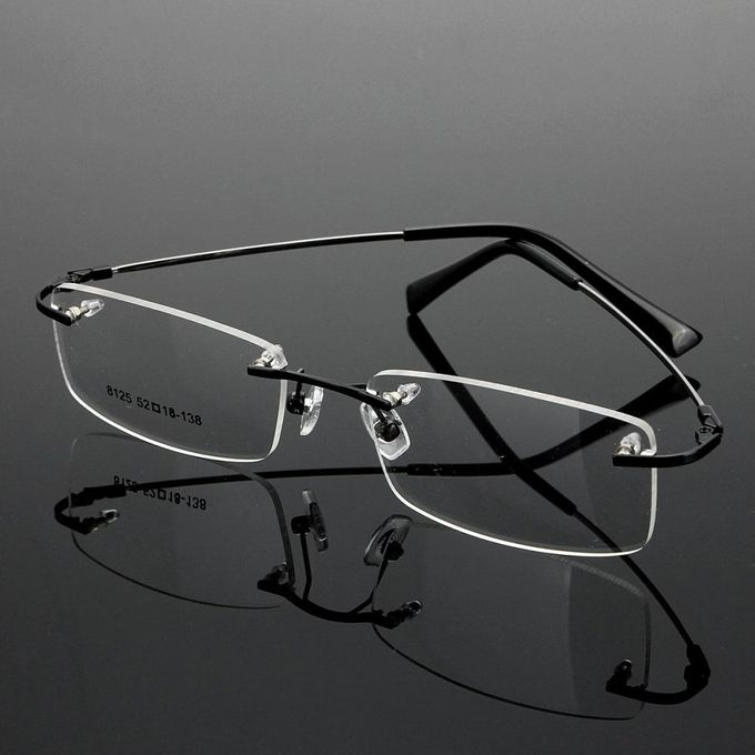 a8838c44b0c4 ... Rimless Glasses Lightest Rx Optical Eyeglasses Memory Titanium  Spectacles Frame Black ...