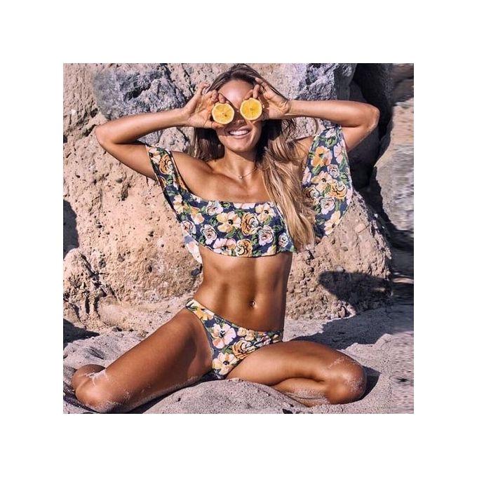 de6b2ad867 Women Off Shoulder Ruffle Bikini Set Padded Bra Swimsuit Swimwear Bathing  Suits A1