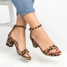 ee2d15dac3f8 Huskspo Summer Sexy Women Leopard Print Ladies Ankle One Word Buckle Thick  Heel Sandals-Yellow