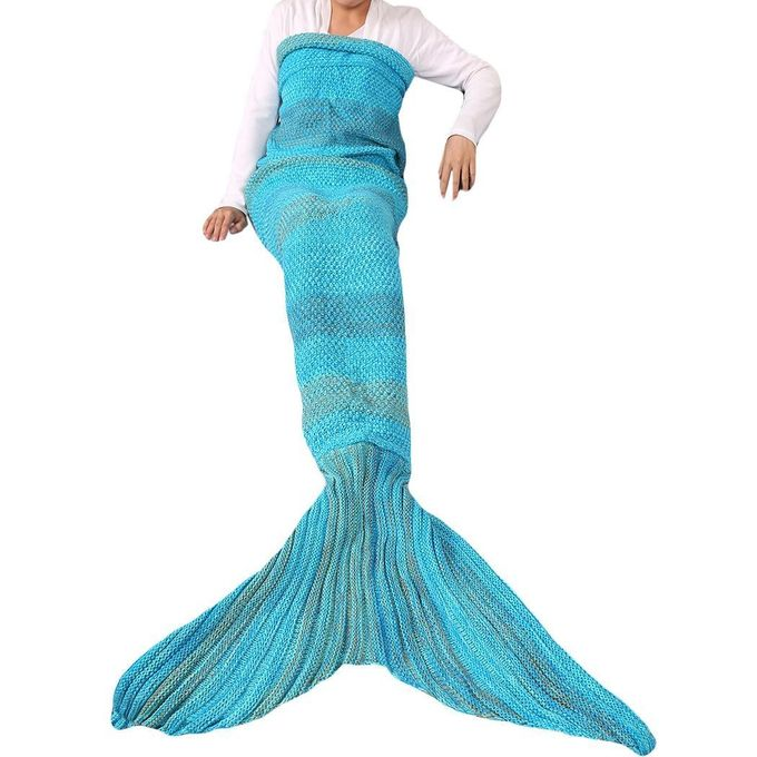 New Fashion Knitted Soft Mermaid Tail Sleeping Blanket Sofa Blanket –  مصر