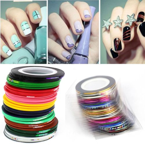 Hiamok 43Pcs Mixed Colors Rolls Striping Tape Line DIY Nail Art Tips  Decoration Sticker
