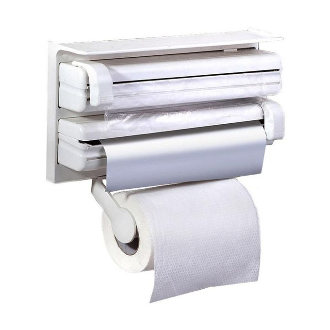 White Kitchen Roll Holder one plus one 4 in 1 kitchen roll holder tissue dispenser - white
