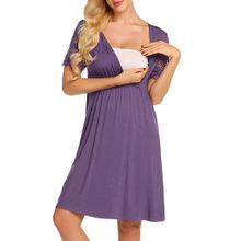 3a0887954ee36 (Xiuxingzi) Pregnant Womens Nursing Nightgown Pregnancy Dress Lace Splice  Maternity Dress