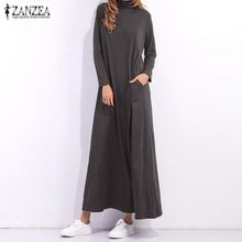 dbe7e6e2e82 ZANZEA Women Autumn Maxi Long Dress Turtleneck Long Sleeve Solid Casual  Loose Oveisized Dresses (Dark