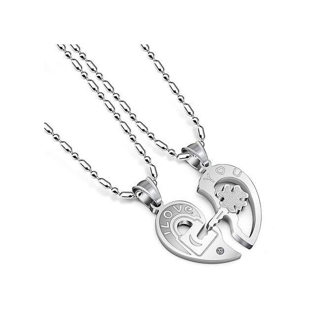 d1bae11de أفضل زوج سلسلة قلادة قلادة عيد الحب هدية 1 زوج من الفضة - Jumia مصر