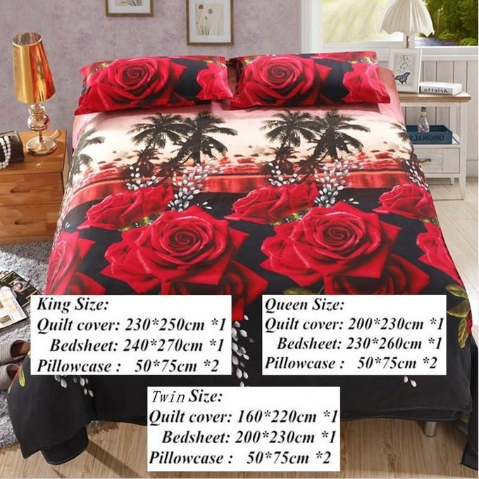 4PCS 3D Printed Bedding Set Fitted Sheet Bed Cover Pillow Cases Queen Size Rose –  مصر