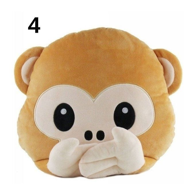 Lovely Funny Emoji Monkey Plush PP Coton Throw Pillow #05 –  مصر