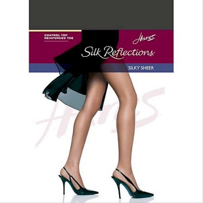 Hanes Womens Control Top Reinforced Toe Silk Reflections Panty Hose [Barely Black, 1, C/D]