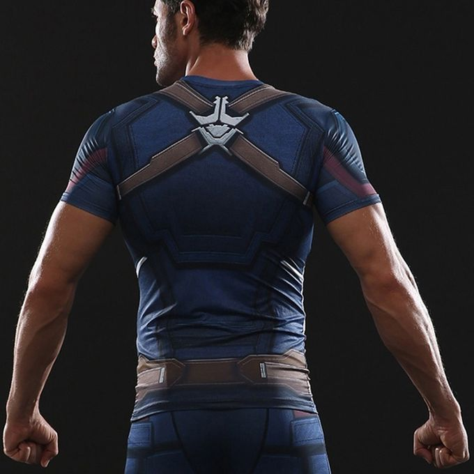 108fcba6 ... 2018 Mens Superhero Compression Shirt Captain America 3D Printed Fit  Tight Sport T-Shirt