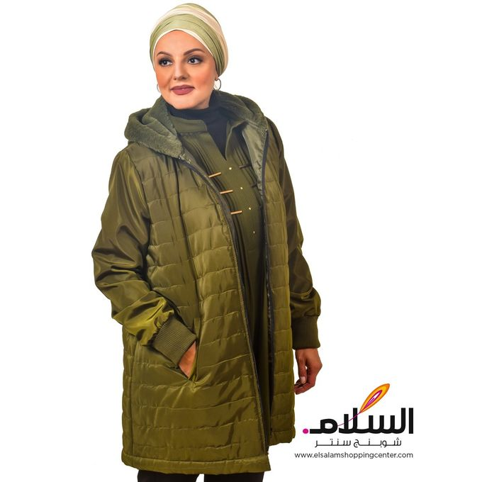 Hooded Sweaters Long  Fur - Olive