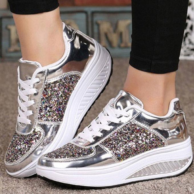 caca7787f Women's Ladies Wedges Sneakers Sequins Shake Shoes Fashion Girls Sport Shoes