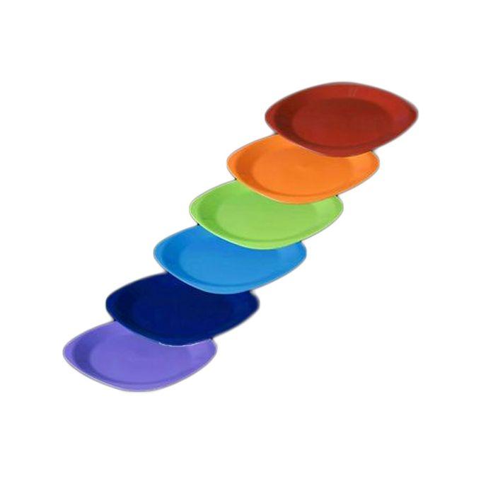 طقم طبق عشاء مسطح كبير الراينبو – 6 قطع – احمر-برتقالي-بستاج-ازرق لبني-كحلي-موف فاتح –  مصر