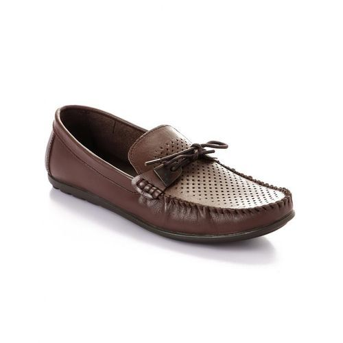 Elegant Decorated Genuine Leather Men Shoes - Brown