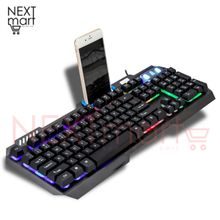 931ab6317af Mechanical Feel Gaming Keyboard Metal Panel 104 Keys Backlit Floated,En/Ar.  -