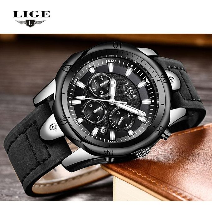 Relojes Hombre 2018 New LIGE Quartz Wristwatch Male Large Dial Gold Black  Leather Watches Men Wild 0334b259aef