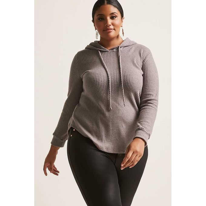 Plus Size Brushed Waffle-Knit Pullover Hooded Sweater