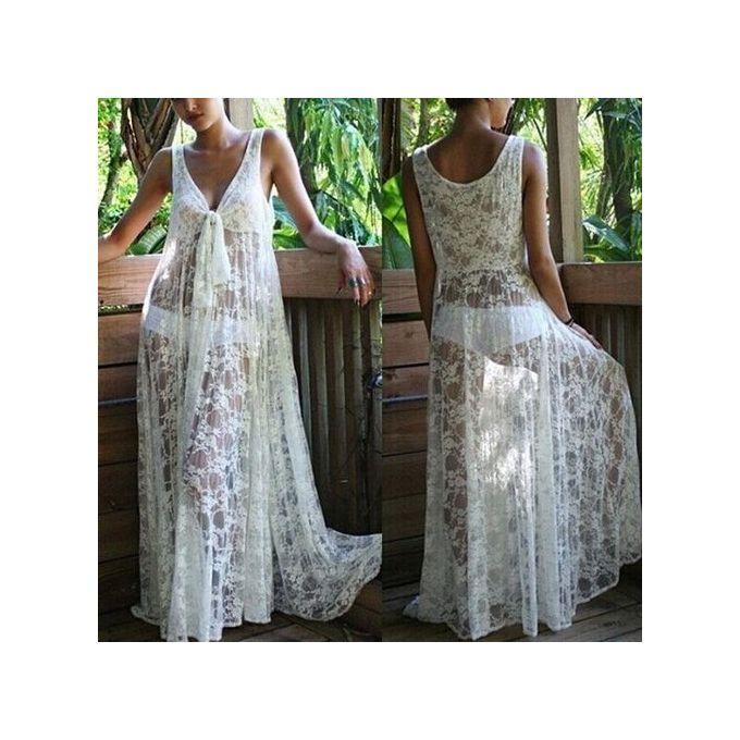 deacfe188560 Fashion Women V-neck Sleeveless Lace Honeymoon Beach Wear White Cover Up  Dress Bikini Tunic