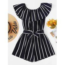 031edb528e0a Striped Ruffle Hem Knot Romper - All Sizes Are In US Size