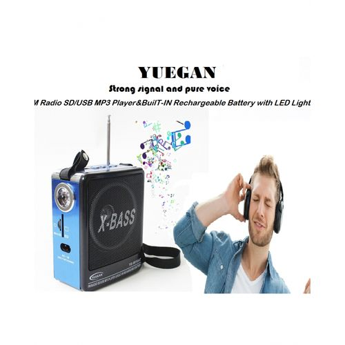FM Radio SD/USB MP3 Player&BuilT-IN Rechargeable Battery With LED Lights  Portable Universal Home Radio