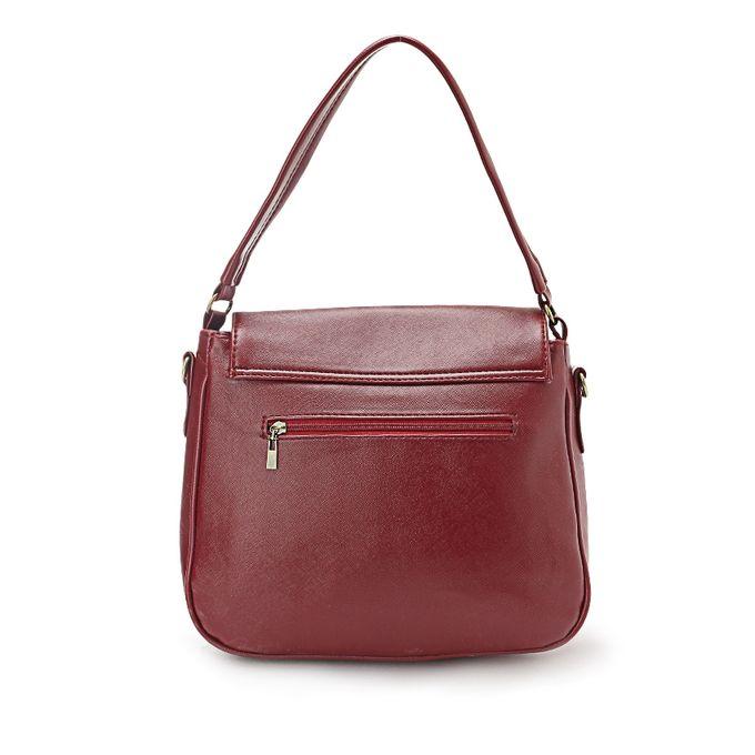 Fashionable Crossbody Bag - Burgundy