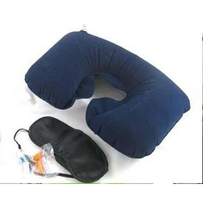 3 In 1 Travel Set – Inflatable Neck Pillow + Eye Mask + 2 Ear Plug –  مصر
