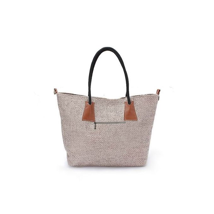 Striped Shopper Bag - Brown , Beige & Off White