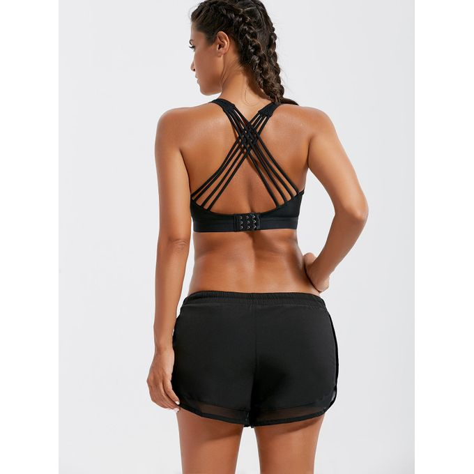 Women Strappy Sports Bra - Black